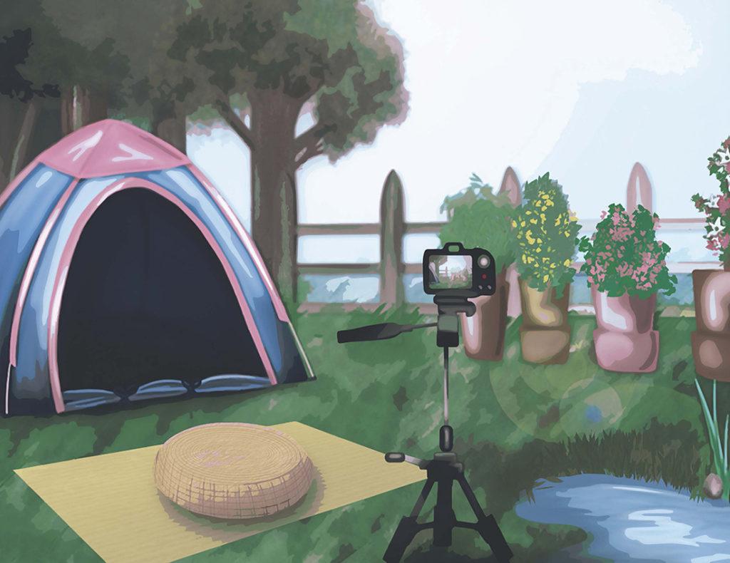 VESTA nature healing room illustration of a backyard camping scene